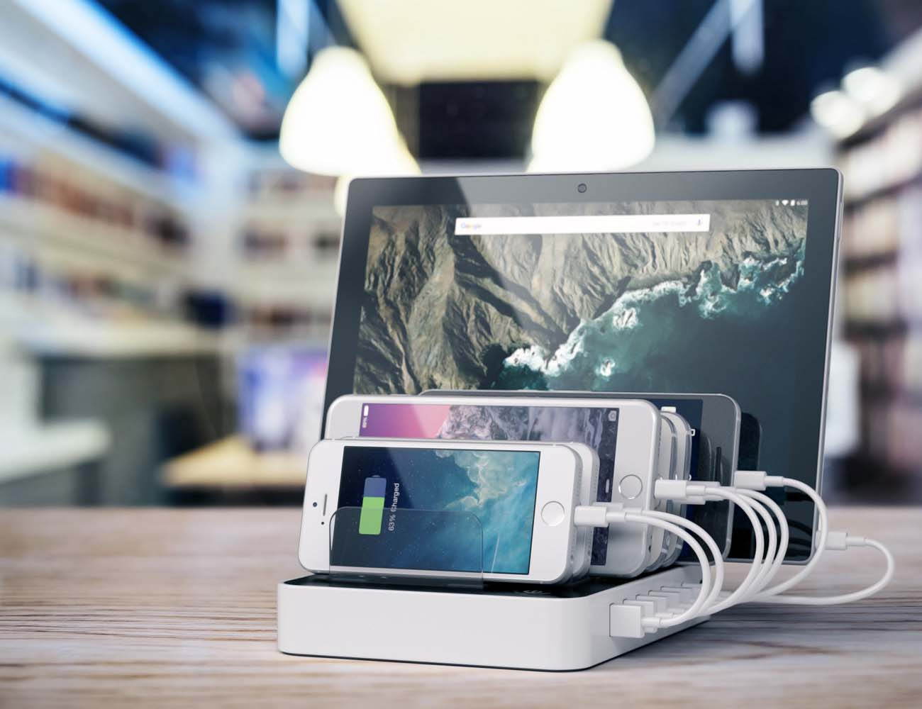 7-Port USB Charging Station Dock